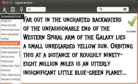 Графика и дизайн: TypeCatcher с выбранным шрифтом