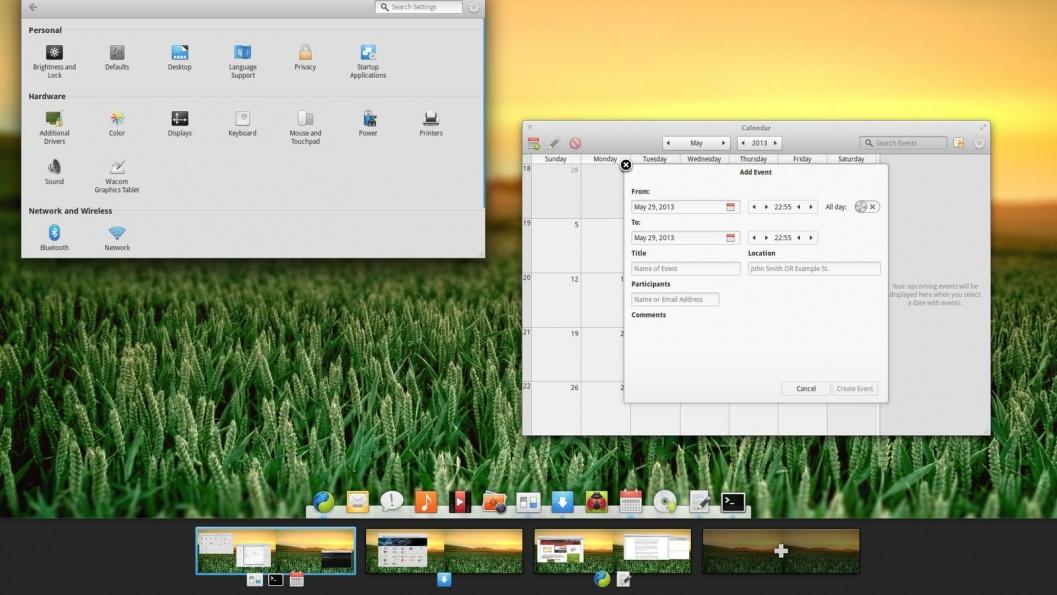Linux: Переключение между рабочими столами в Elementary OS Luna beta 2