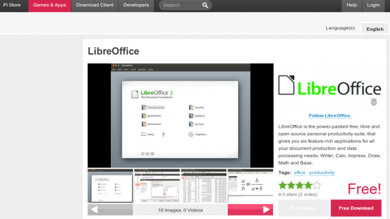 Железо: LibreOffice in Pi Store