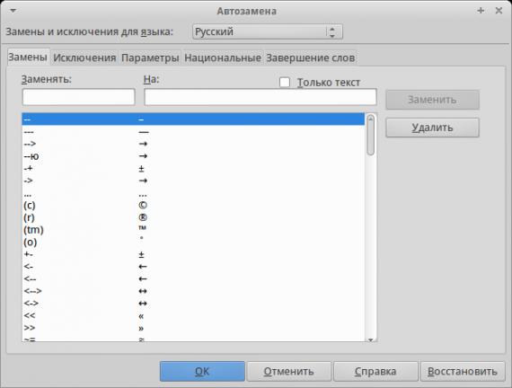 Офисные пакеты: LibreOffice: Параметры автозамены
